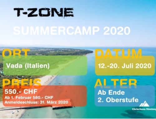 T-Zone Summercamp 12.-20. Juli 2020